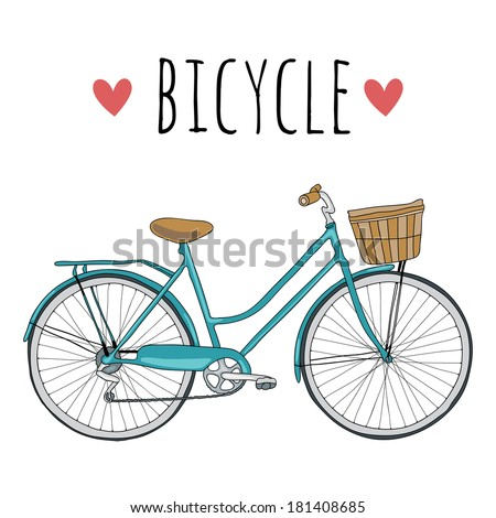 Cute vector hand drawn bicycle on white background - stock vector