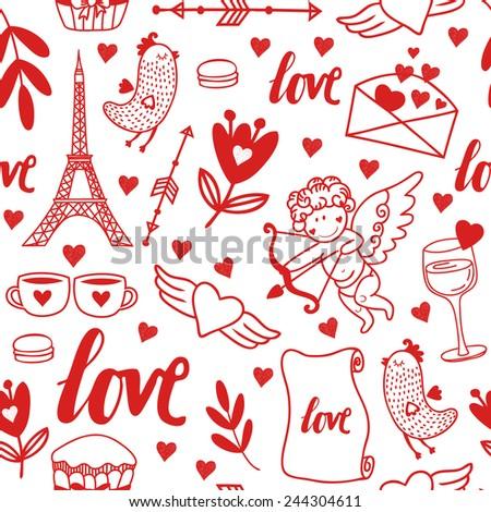 Cute Vector Handdrawn Pattern Symbols Love Stock Vector 244304611