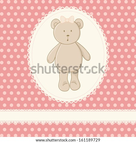 Cute vector illustration. Little toy teddy bear, white lace, pink background with polka dot. Ideal for baby shower invitation card, girls birthday card, etc. - stock vector
