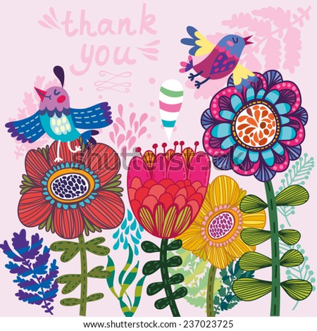 Cute vector illustration of cartoon Birds and flowers.Stylish floral card. Summer or spring background in gentle colors. - stock vector