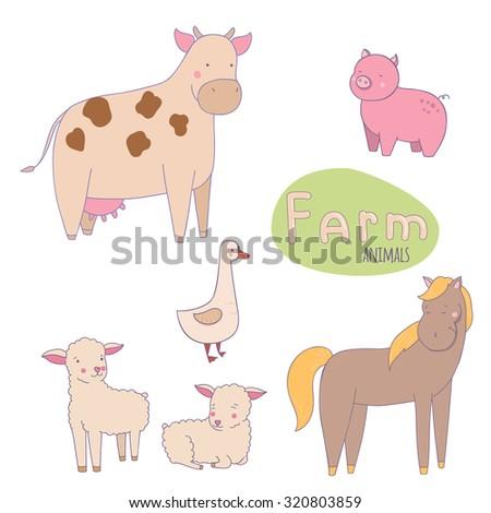 Cute vector illustration of farm animals. - stock vector