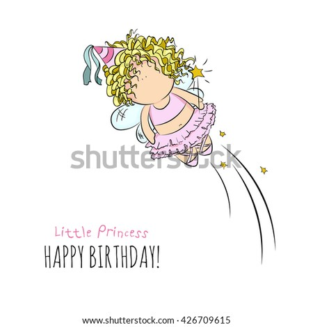 cute vector illustration of flying fairy with magic stick. doodle. happy birthday card. romantic  style. invitation card template. isolated. white background. for girl - stock vector