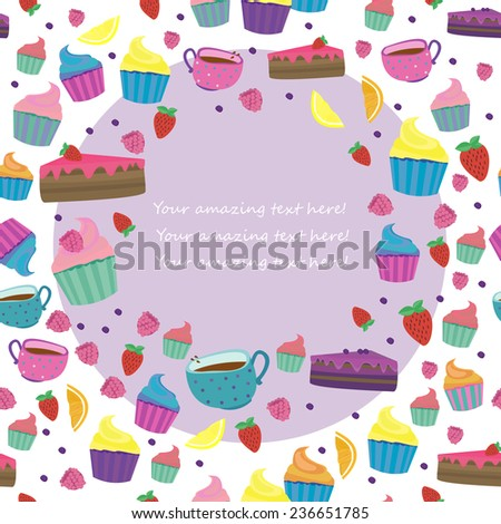 Cute vector illustration with confection, fruits, berries and drinks. - stock vector
