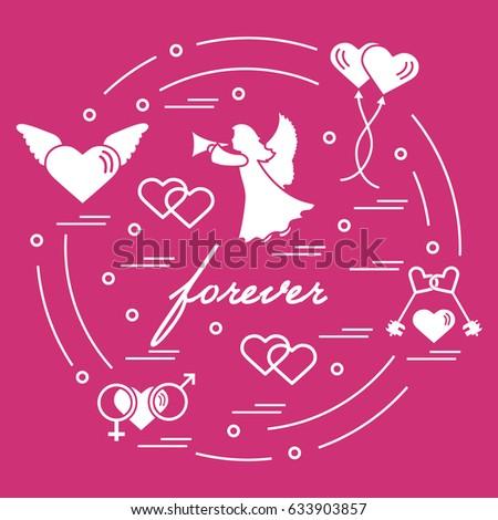 Cute Vector Illustration Different Love Symbols Stock Vector