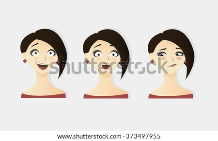 Cute vector illustrations set of beautiful young brunette hot hair girl with various emotion. - stock vector