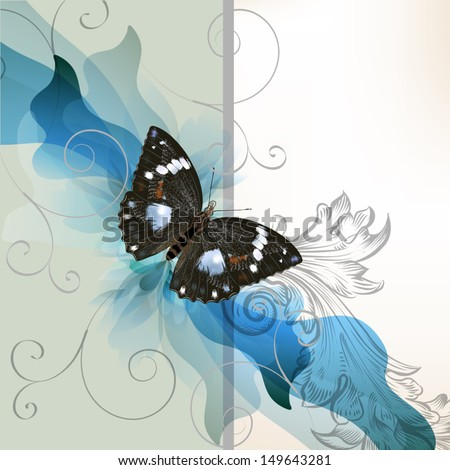 Cute vector invitation card with butterfly for design in blue  - stock vector
