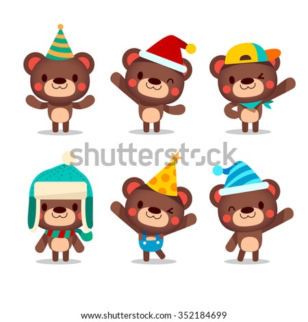 Cute Vector Kiddy Bear Party Set - Isolated white background - stock vector