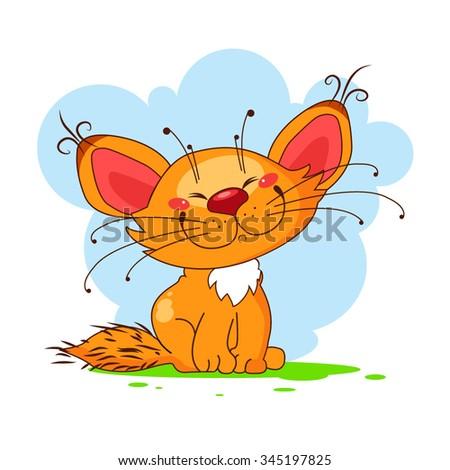 Cute vector kitty - stock vector