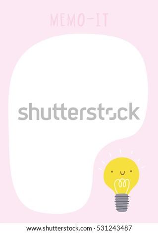 cute vector memo it sticker template memo stock vector 531243487