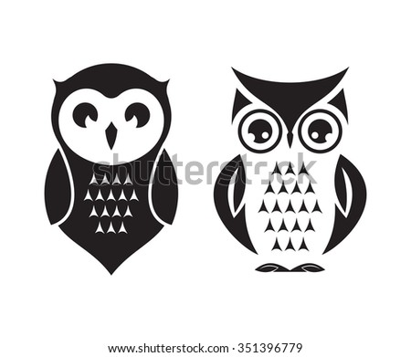 Cute vector owl icons