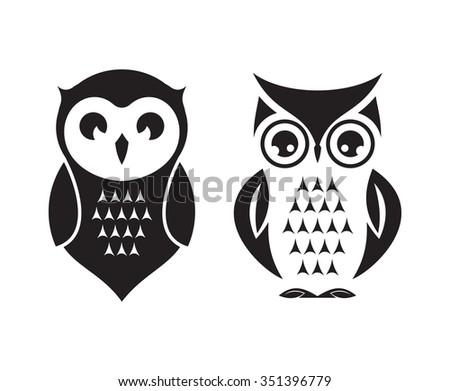 Cute vector owl icons - stock vector