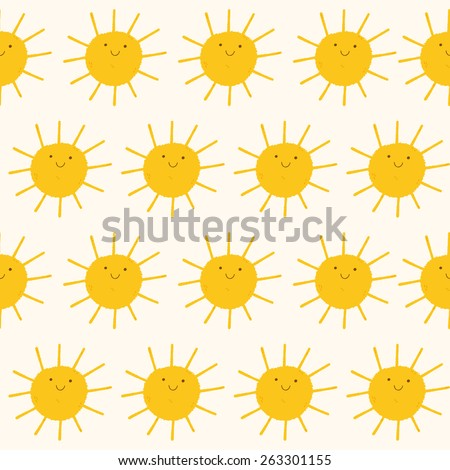 Cute vector pattern of SUN icons. Funny happy smiley suns. Bright and beautiful cartoon seamless pattern. - stock vector