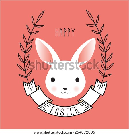 Cute Vector Portrait of Bunny. Happy easter card with ribbon and wreath - stock vector