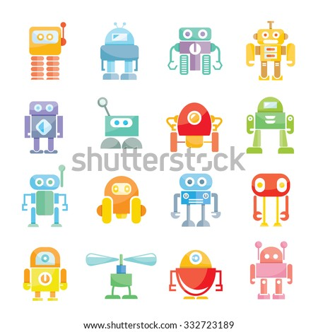 cute vector robots - stock vector