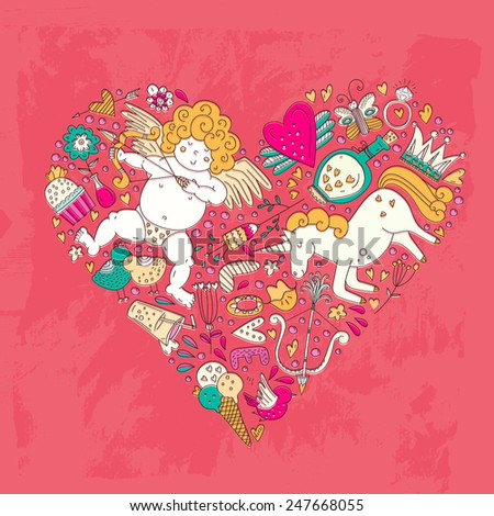 Cute vector romantic card template with a heart made of the most romantic symbols - cupid, ring, hearts, loving birds, sweet ice cream. Valentines day doodle style card. - stock vector