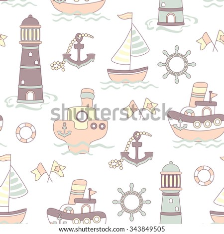 Cute vector seamless baby pastel color background with ship, lighthouse and sea
