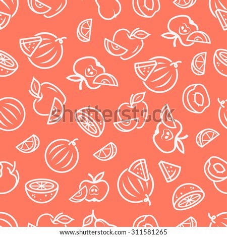 Cute vector seamless background with fruits, apple, watermelon, peach, lemon, orange, pear, lime. Use for your design. - stock vector