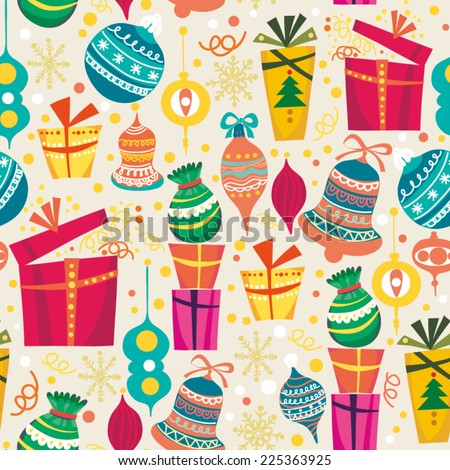 Cute vector seamless pattern of gift boxes.