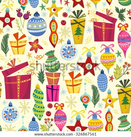 Cute vector seamless pattern of gift boxes and toys.