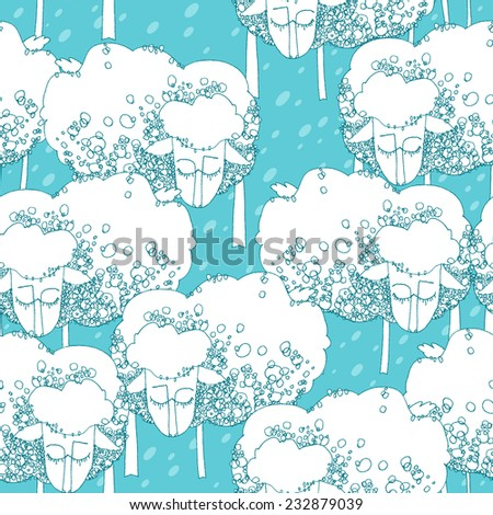 Cute vector seamless pattern of sheep herd on blue background. Hand drawn illustration for 2015 christmas designs, packaging paper, textile, etc.  - stock vector