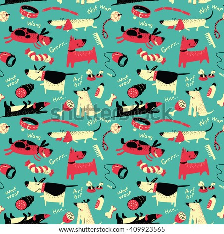 Cute vector seamless pattern with cartoon funny dogs and their ammunition - stock vector