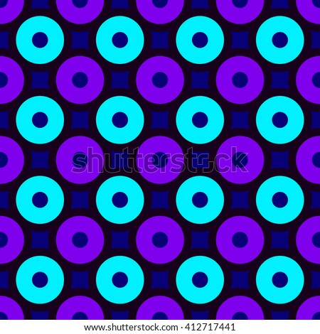 Cute vector seamless pattern with Circles and Squares. Abstract colorful geometric background with seamless simple ornament. Blue and violet modern seamless background Vector illustration Print Design - stock vector