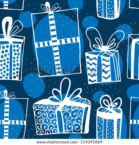 Cute vector seamless pattern with hand drawn gifts