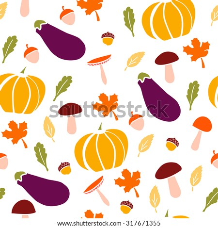 Cute vector seamless pattern with pumpkins, mushrooms, aubergines, acorns and tree leaves. Bright colorful doodle objects on white background. - stock vector