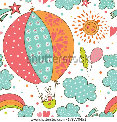 Cute vector seamless pattern with rabbit, - stock vector