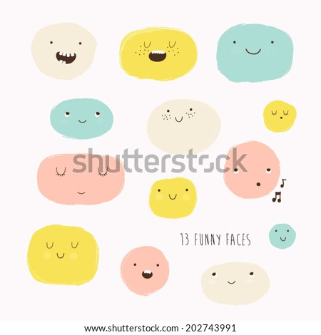 Cute vector set in cartoon style. Funny happy smiley faces. Happy doodles for your design. Beautiful cartoon elements. - stock vector