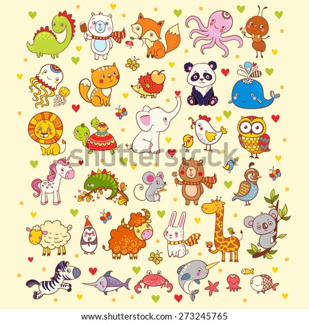 Cute vector set of  animals, fish and birds: giraffe, fox, elephant, cat, lion, zebra, whale, panda, owl.