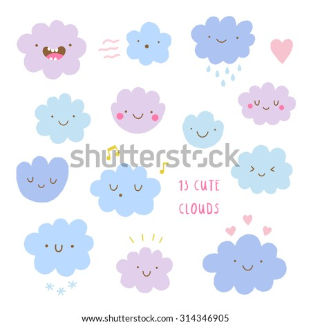Cute vector set of CLOUDS icons. Funny happy smiley clouds. Happy doodles for your design. Bright and beautiful cartoon characters. - stock vector