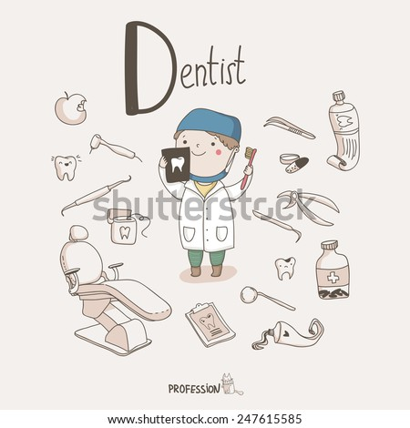 Cute vector set of Dentist with different dental equipment isolated on the light background.  - stock vector