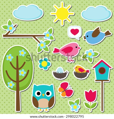 Cute vector set of different spring stickers. Nature decorative elements for scrapbooking - stock vector