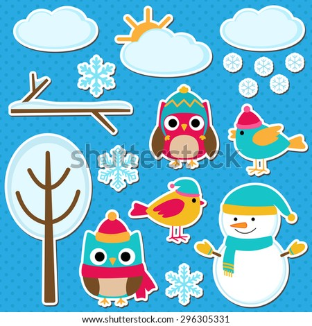 Cute vector set of different winter elements - stock vector