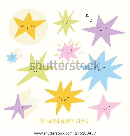Cute vector set of STAR icons. Funny happy smiley stars. Happy doodles for your design. Bright and beautiful cartoon characters. - stock vector