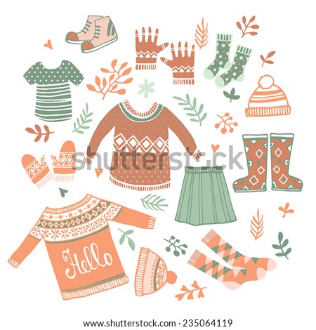 Cute Vector set winter clothing  - stock vector