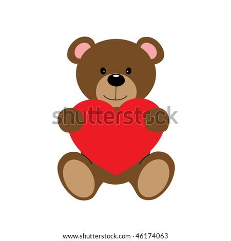 Cute vector teddy bear holding red heart isolated - stock vector