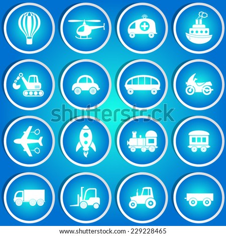 Cute vector transport icons in blue circle stickers - stock vector
