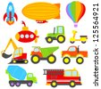 Cute Vector Transportation and Construction Set - stock vector