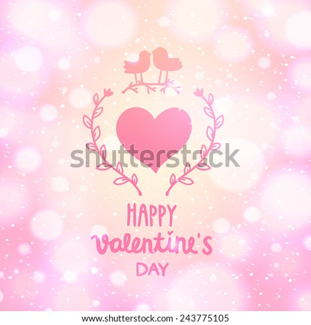 cute vector Valentines day postcard with bird couple. Cartoon romantic background for your greeting card.  - stock vector