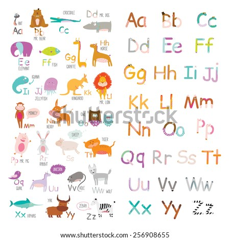 Cute vector zoo alphabet with cartoon and funny animals in vector. Letters. Learn to read. Isolated on white background. - stock vector