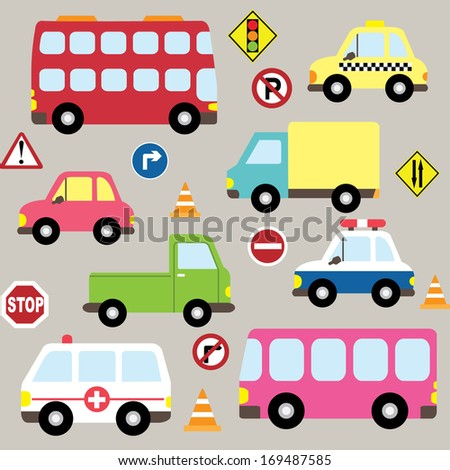 Cute Vehicles, transport set - stock vector