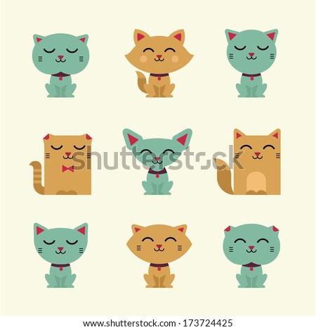Cute verctor  cats - stock vector