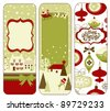 Cute Vertical Christmas banners in retro style - stock photo