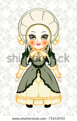 Cute victorian fashion doll over royal pattern