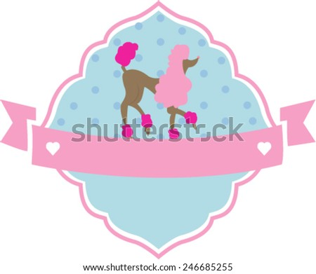 cute vintage badge with poodle - stock vector