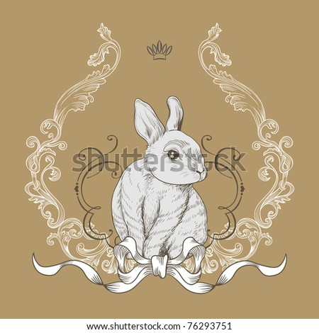cute vintage bunny card