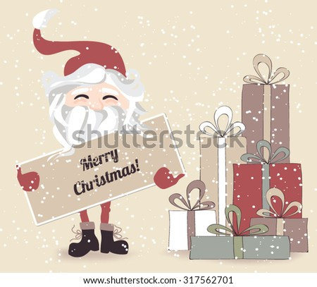 Cute Vintage Christmas Card with Christmas Presents and Santa holding a banner - stock vector