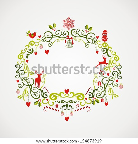 Cute vintage Christmas decoration elements mistletoe composition. EPS10 vector file organized in layers for easy editing. - stock vector